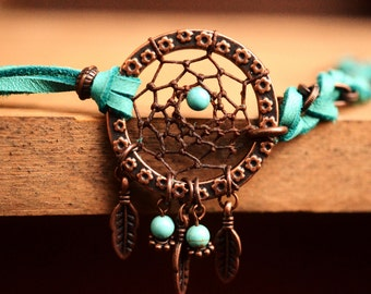 Bohemian Leather Bracelet Boho Stacking Friendship Bracelet Copper Dreamcatcher Bracelet