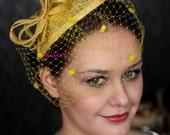Yellow FASCINATOR with veill, dots birdcage veil, fabulous wedding head piece, hairdress,
