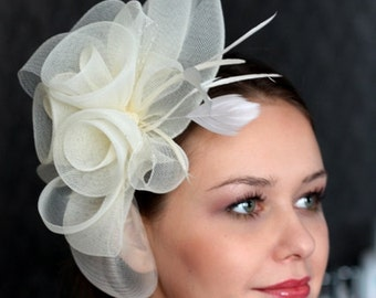 Wedding Hat, Couture Bridal Hat. Ivory Bridal Hat, Wedding Birdcage Veil, Wedding Headpiece, Ivory Wedding Fascinator