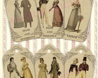 Jane Austen books tags/labels digital collage sheet. DIGITAL DOWNLOAD