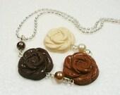 Chocolate Rose Pendant. Polymer Clay.