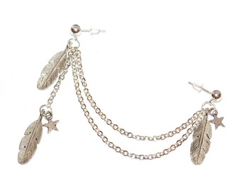 Stars and Feathers Cartilage Chain Earring