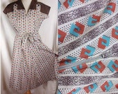 Vintage 1950's Brown Turquoise White Atomic Rockabilly Print Cotton Day House Dress Large NOS-(cw103)