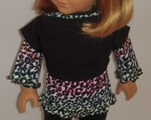 3 pc outfit with animal print tunic, cropped top and leggings for 18 inch dolls