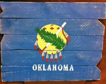 Okla State Flag on Pallet Wood