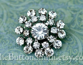 "Rhinestone Buttons ""Adele"" (31mm) RS-056 - 5 piece set"