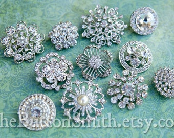 Rhinestone Buttons Mix - Large Collection - 103- 10 piece set