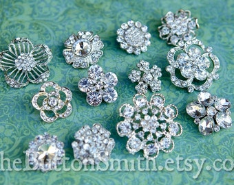 Rhinestone Buttons Mix - Floral Collection - 105- 10 piece set