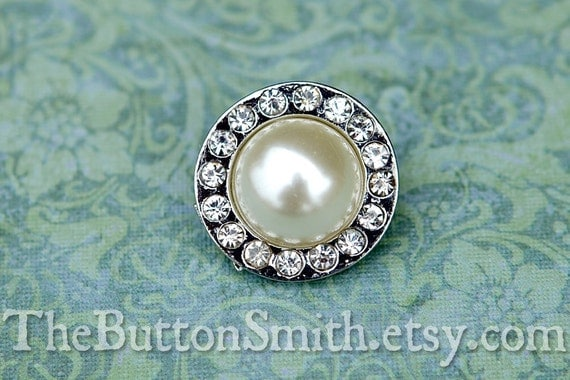 """Rhinestone & Pearl Buttons """"Madison"""" (20mm) RS-039 - 5 piece set"""