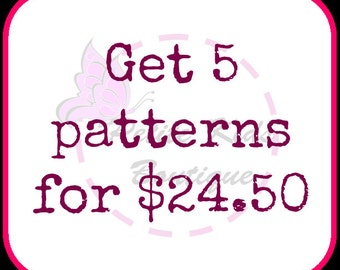 Bundle promo - Buy 5 sewing patterns with only USD24.50