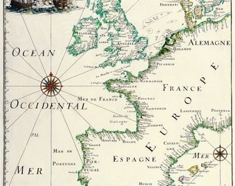 Old fashion map-Ancient Maps-around the world-Europa 1666-Astronomy-PRINT