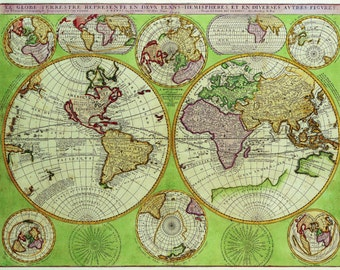Old fashion map-Green treasury-ancient history- Old World-Globe-Globe Earth-continents and oceans