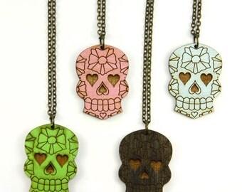 Sugar Skull Necklace - Handmade - Laser Cut