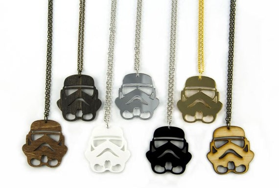 Storm Trooper Inspired Necklace - Handmade - Laser Cut