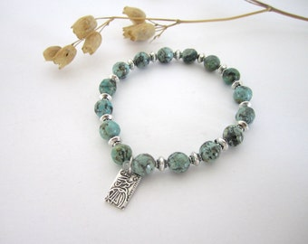 African Turquoise Bracelet - with Asian Coin Charm