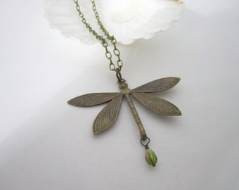 Antique Brass Dragonfly Necklace - Pendant