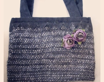 Wool handbag with violet rose brooches, so shabby chic
