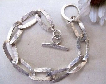 Silver satin bracelet