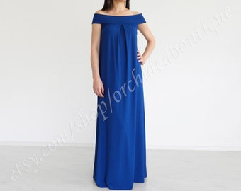 TINA off-shoulder maxi dress oversized plus size maternity women fashion handmade blue