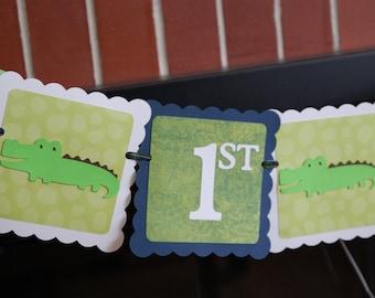 Alligator Happy 1st Birthday, Gator Party, Gator Birthday, Alligator Banner, Navy, Lime White