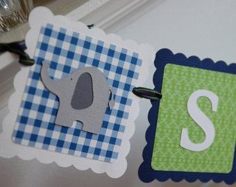Elephant Name Banner, Elephant Baby Shower, Elephant Birthday,  Elephant Decorations,