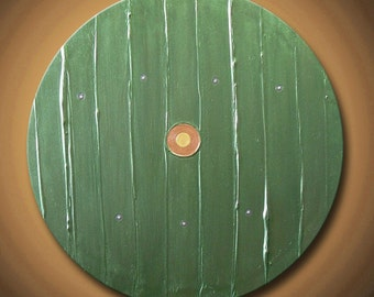 """Green Hobbit Door Painting Metallic Olive Silver Gold Lord of the Rings Acrylic 20"""" Round High Quality Original Fine Art"""
