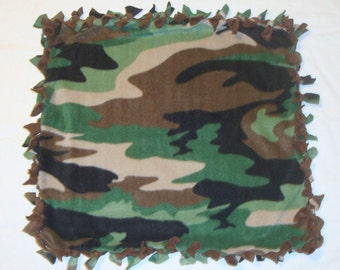 SALE Fleece Tie Pet Blanket for Cats or Small Dogs - Camoflauge Green Brown