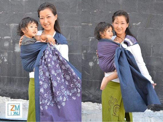 Last One - Baby Ring Sling with Reversible 2 Layers of Printed Panel Cotton - Baby Carrier Wrap With DVD