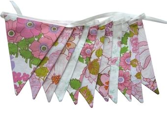 Vintage Bunting - Retro Pink & Lace, Floral Flags  HANDMADE . Shabby Chic, Birthday Party Decoration. Garden Parties, Kitchen Tea, Wedding