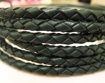 Leather Cord 4mm - Vintage Green Round Braided Bolo Genuine Leather Cord ( Hole Inside )