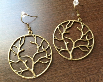 Large Winter Tree Earrings in Antique Bronze