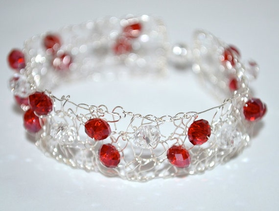 Silver Bracelet Cuff. Arm Cuff. Bangle. Statement Jewelry. Wire Hand Knit. Unique Jewellery. Red Crystals
