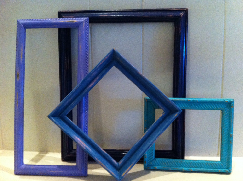 blue distressed vintage frame collage 5 x 7 frames 8 x 10. Black Bedroom Furniture Sets. Home Design Ideas