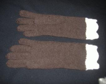 Hand Knit Espresso/Latte Gloves Size Small/Medium