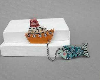 Boat  Brooch  Fish Brooch Ship Brooch and Fish Brooch  Animal Brooch Made to Order
