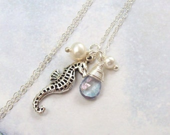 Seahorse Necklace, Sterling Silver Gemstone Necklace, Tropical Necklace, blue mystic topaz,  white freshwater pearl, beach jewelry