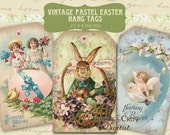 Vintage Pastel Easter Hang Tags Digital Collage Sheet - 2.5 x 4 Inches -  INSTANT Printable Download