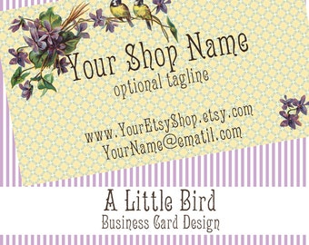 "Vintage Bird Business Card Design - Cute Vintage Design ""A Little Bird"" Yellow and Lavender Purple Pre-Made"