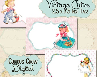 Cute Vintage Little Girls Images 2.5 x 3.5 Inch ACEO ATC Digital Collage Sheet Instant Printable Download  Cute Retro Design