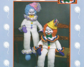 "PDF Pattern CLANCY CLOWN - 32"" Large Crochet Rainbow Clown Doll Pattern - Jao Enterprises - Out Of Print - Free Shipping - Instant Download"