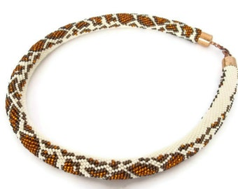 Choker necklace. Animal print. Beaded choker. Bead crochet rope necklace with snake skin  pattern.