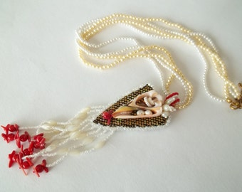 Bead  embroidery necklace. Sea shell, pearls and coral embroidery pendant necklace.