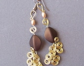Dangle Earrings Pair, Golden Brass Egyptian Swirl Link and rich brown and peach beads