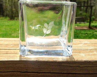 Hand Etched Glass Cube Candle Holder