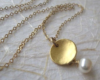 Gold disc pearl necklace , Delicate circle pendant necklace , 14k Gold filled chain , Handmade by Adi Yesod