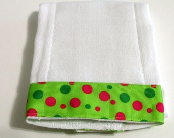 Lime Green Dots  Baby Burp Cloth