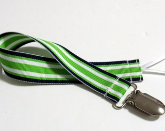 Lime Black Ribbon Pacifier Clip Pacifier Holder
