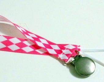 Pacifier Holder Pink Gargyle Grosgrain  Ribbon Pacifier Clip