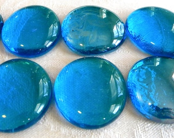 10 Large Flat Glass Gems - Caribbean Blue - Half Marbles - Mosaics/Wedding/Floral/Candle Display