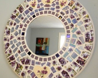 Large Round Mosaic Mirror - PURPLE Pansies and Violets - Vintage China/Stained Glass/Hearts